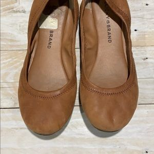 Brown leather lucky flats